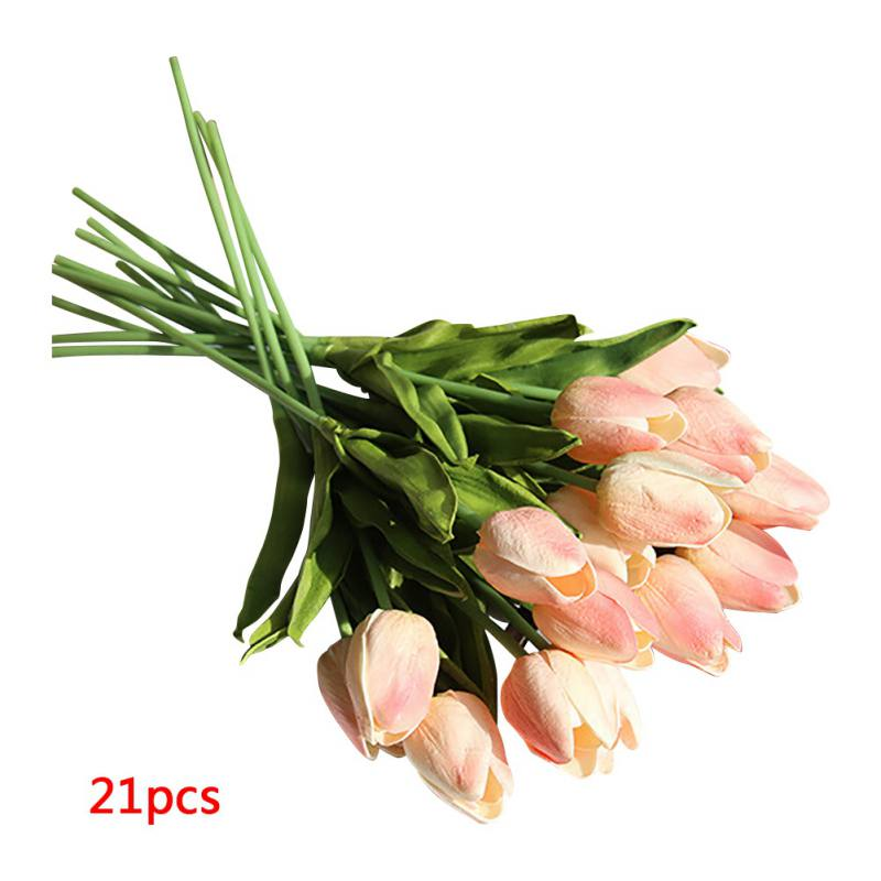 21PCS Fake Artificial Tulips Flower Bouquet Real Touch ...