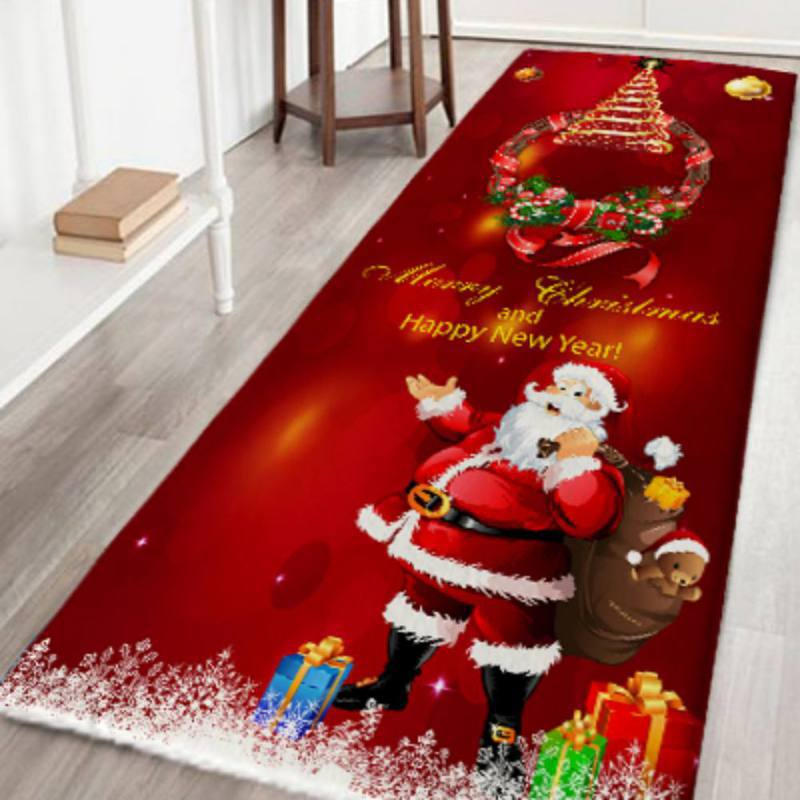 Christmas Flannel Carpet Santa Claus Deer Anti Slip