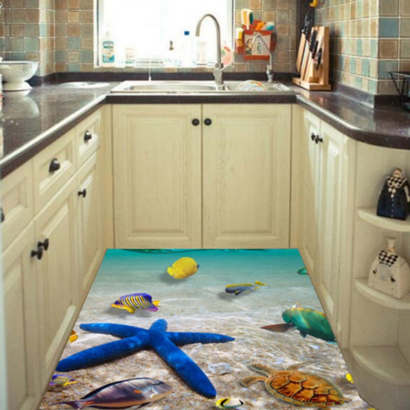 3D Starfish Dolphin Bathroom Kitchen Floor Sticker Wall Stickers ...