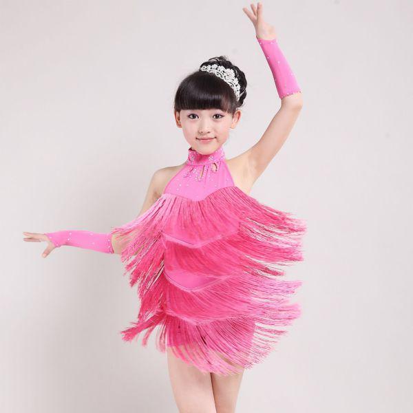 Kid Girl Xmas Tasseled Ballroom Latin Salsa Dancewear Fringe Dress ... 2fa8eb0086c2