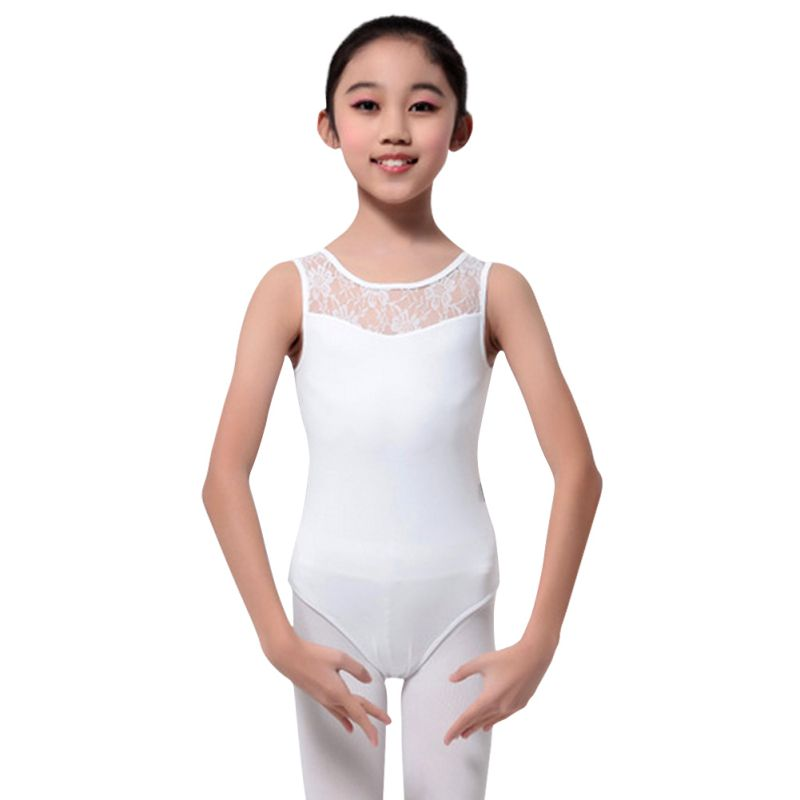 Kids Girls Sleeveless Ballet Leotard Lace Dancewear ...