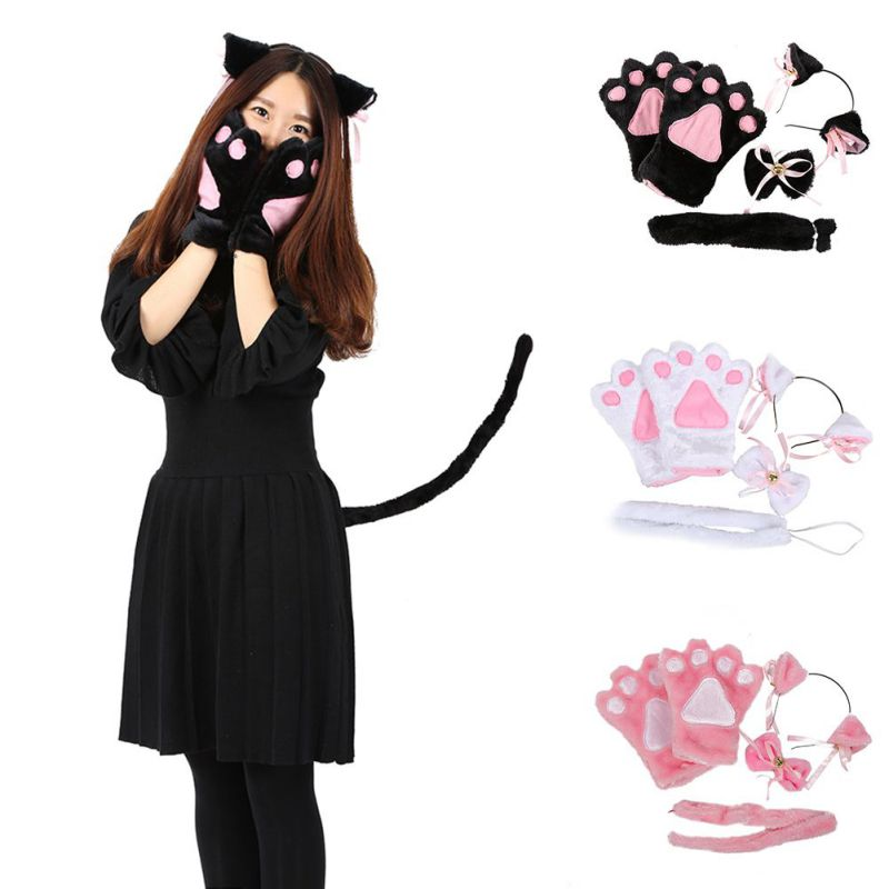 5pcs Sexy Anime Cosplay Cat Ears Gloves Set Gloves Ear Headwear Tail