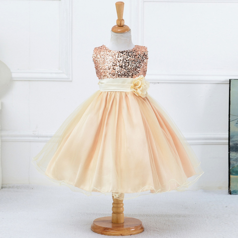 Kid Girls Sequin Flower Princess Tulle Gown Formal Wedding Dress Casual Skirts