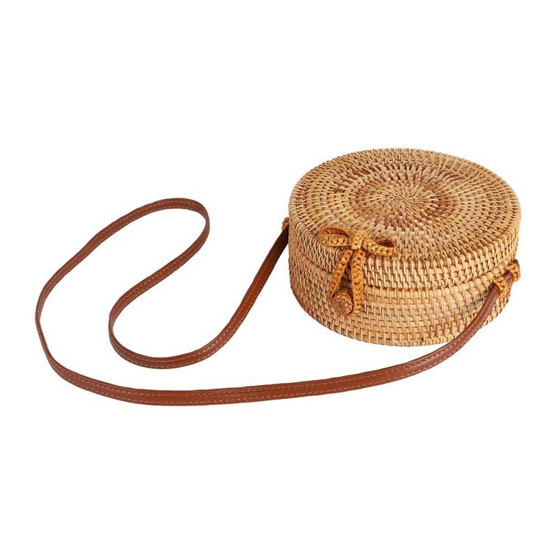 Straw Bag Summer Beach Rattan Shoulder Bags Wicker Weave Han