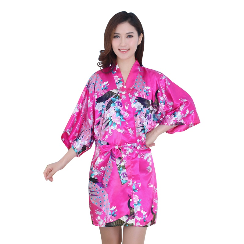 AU Lady Women Nightdress Satin Lace Kimono Sleepwear Lingerie Robe ...