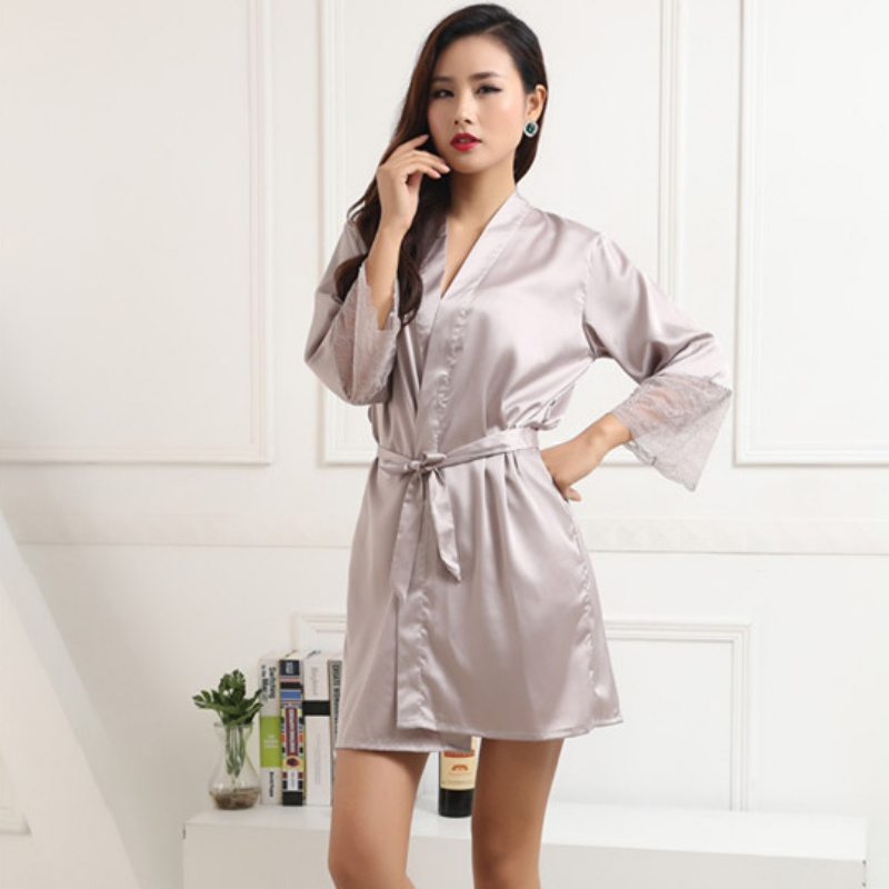 Women Silk Satin Night Dress Pajama Babydoll Sleepwear Long Robes ...