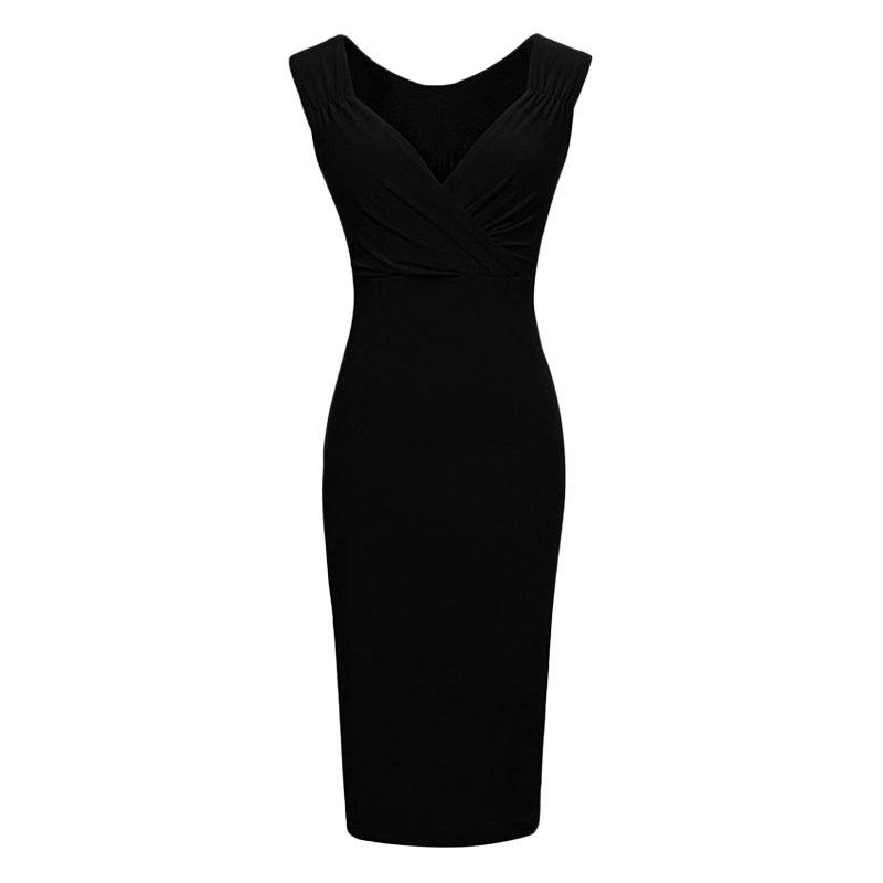 Fashion-Women-V-Neck-Sleeveless-Bodycon-Cocktail-Evening-Party-Pencil-Midi-Dress