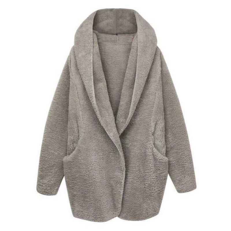 Women Winter Soft Fleece Thick Hooded Coat Hoodie Cardigan ...