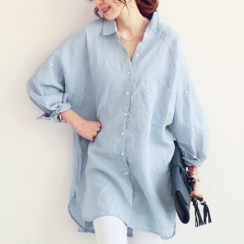 Women-Loose-Linen-Tops-Long-Sleeve-Oversized-Collared-Casual-Blouse-T-Shirt-Tee
