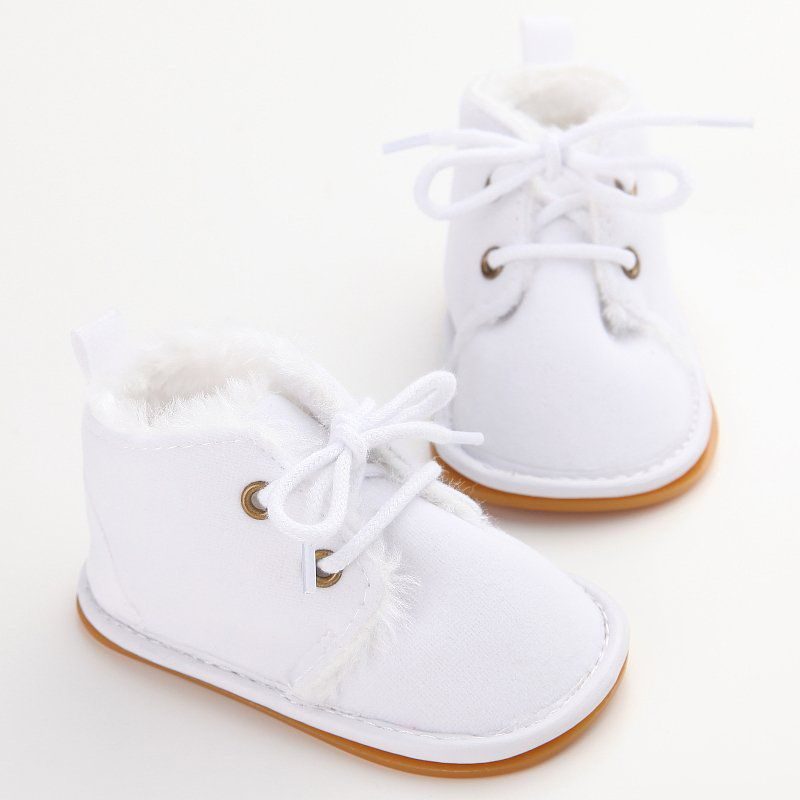 Uk Baby Boy Girl Warm Boots Sneakers Velvet Soft Crib Pram