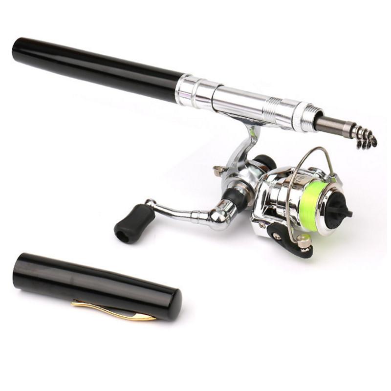 Details about Mini Pocket Pen Shape Aluminum Alloy Fishing Rod Baitcasting Pole Reel Set