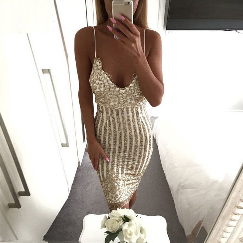 Bling-Womens-Strappy-Sequins-Prom-Bodycon-Dress-Evening-Party-Lace-Midi-Costume