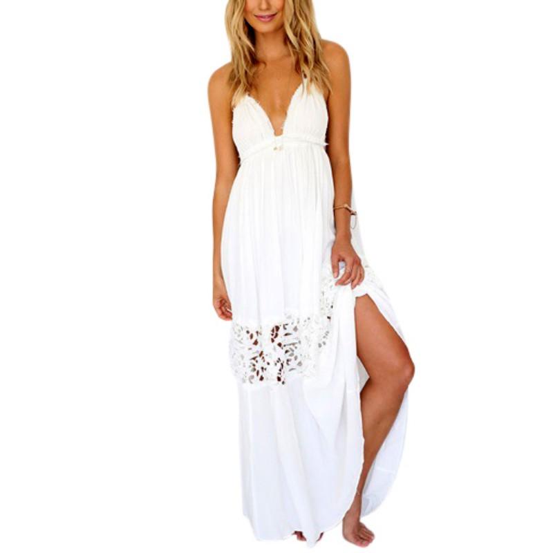 AU-Women-Lace-Halter-Long-Maxi-Dress-Summer-Backless-Party-Beach-Boho-Sundress