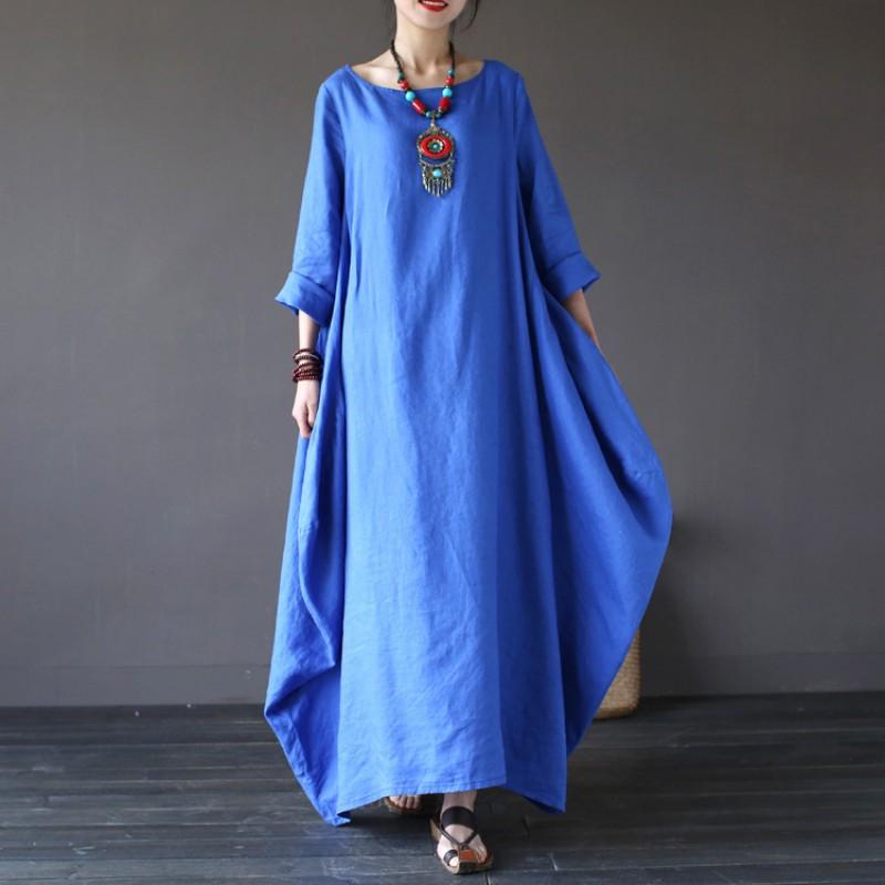 Vintage-Women-Long-Maxi-Dress-Long-Sleeve-Evening-Party-Cocktail-Beach-Sundress