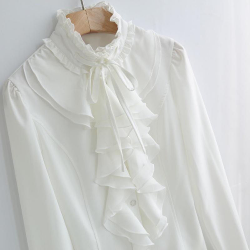 Women-Victorian-Ruffle-OL-Shirt-Flounce-Casual-Long-Sleeve-Loose-Top-Blouses-US thumbnail 13