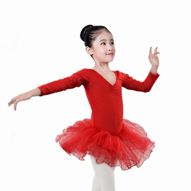 Girls Ballet Dancewear Gymnastics Leotard Long Sleeve Piece Dance Costume