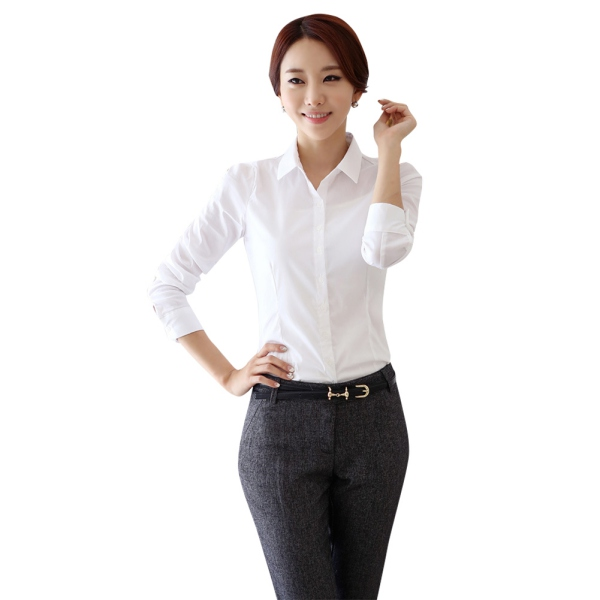 AU-Women-Office-Lady-Business-Blouse-Career-Lapel-Collar-Shirt-Tops-White-Shirt