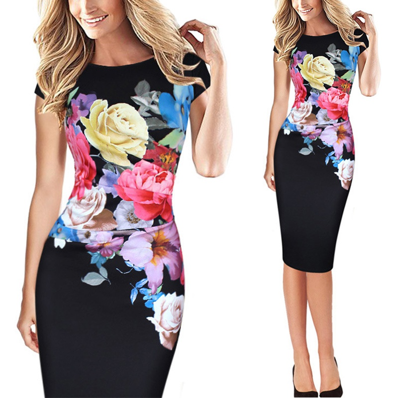 Women-Short-Sleeve-Summer-Floral-Dress-Evening-Party-Cocktail-Pencil-Mini-Dress