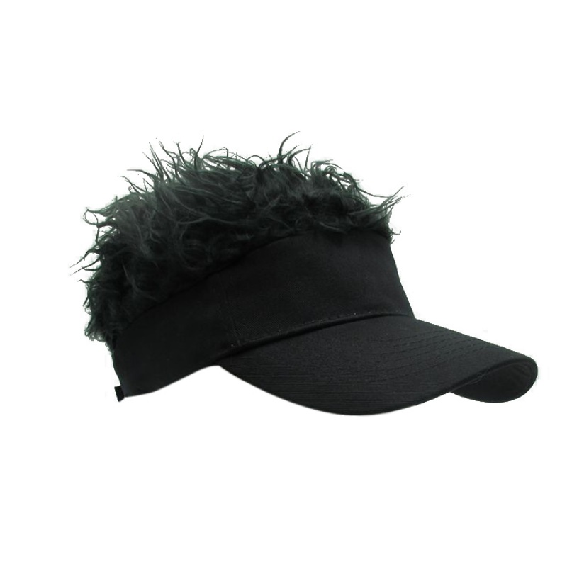 Fashion Unique Mens Flair Hair Visor Casquette Hat Sun Visor Wig Cap ... 051f124be5d