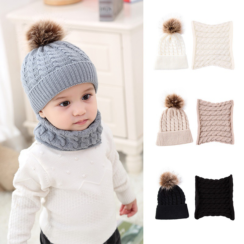 7b4151490 2PCS Baby Kid Boy Girl Winter Warm Knitted Crochet Cute Hat Toddler ...