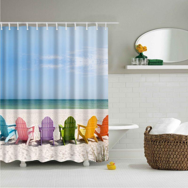 Cloud Window Curtains 3d Printing Nautical Home Decor: Ocean Beach Nautical Coastal Sunset Bathroom Fabric Shower