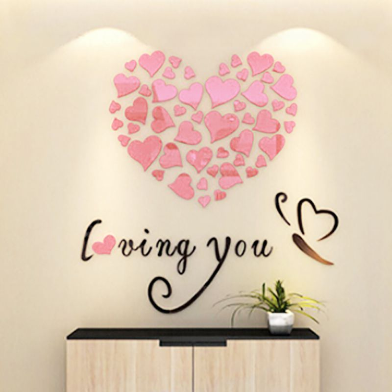 3d diy decal removable flowers romantic heart wall sticker for 3d flowers for wall decoration