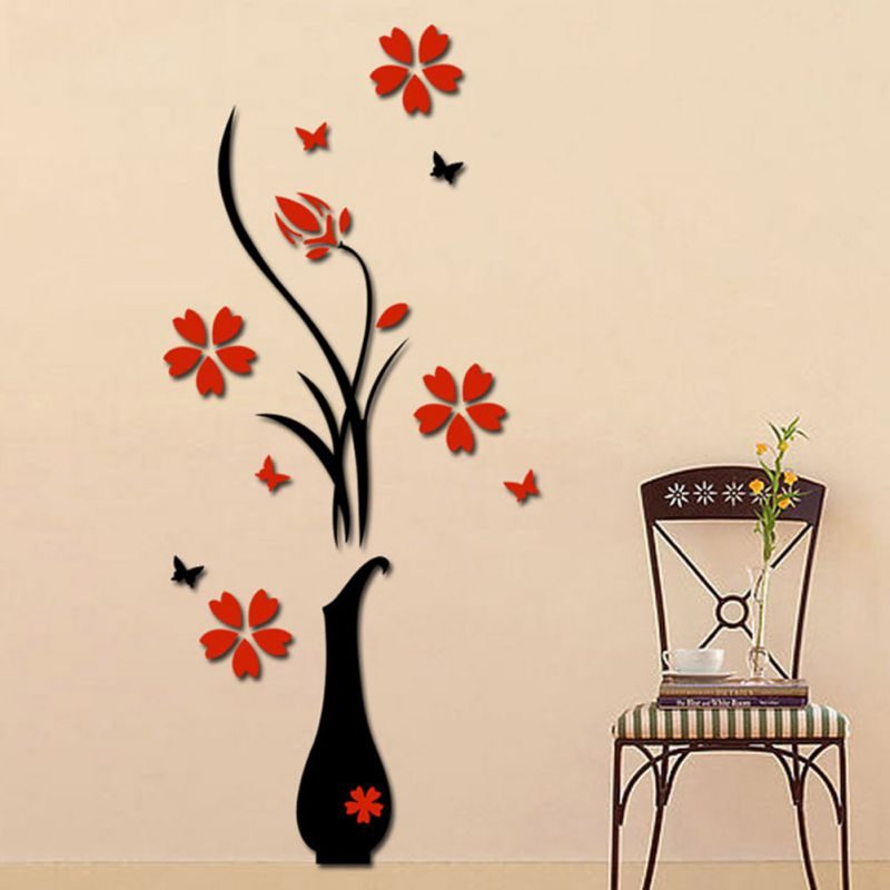 3d Diy Decal Removable Flowers Romantic Heart Wall Sticker