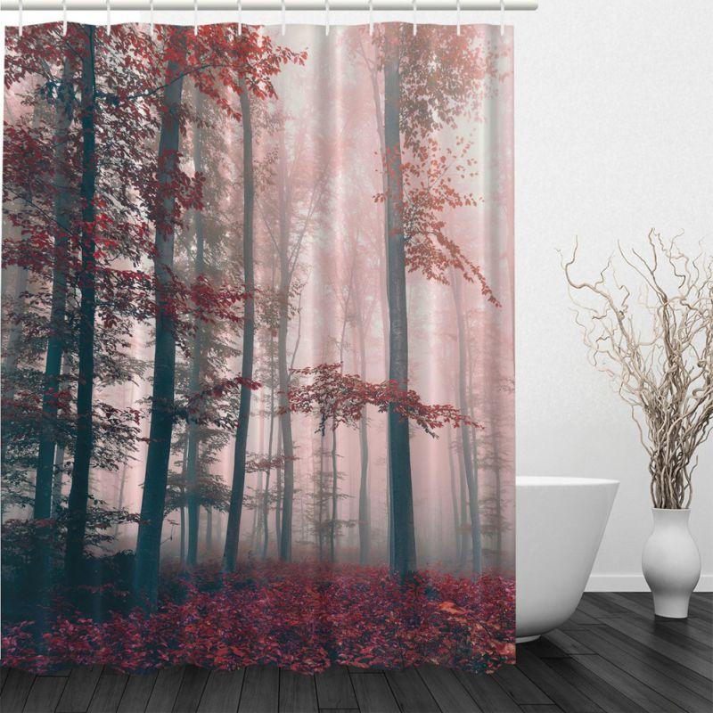 Waterproof Fabric Bathroom Shower Curtain Nature Scenery Panel