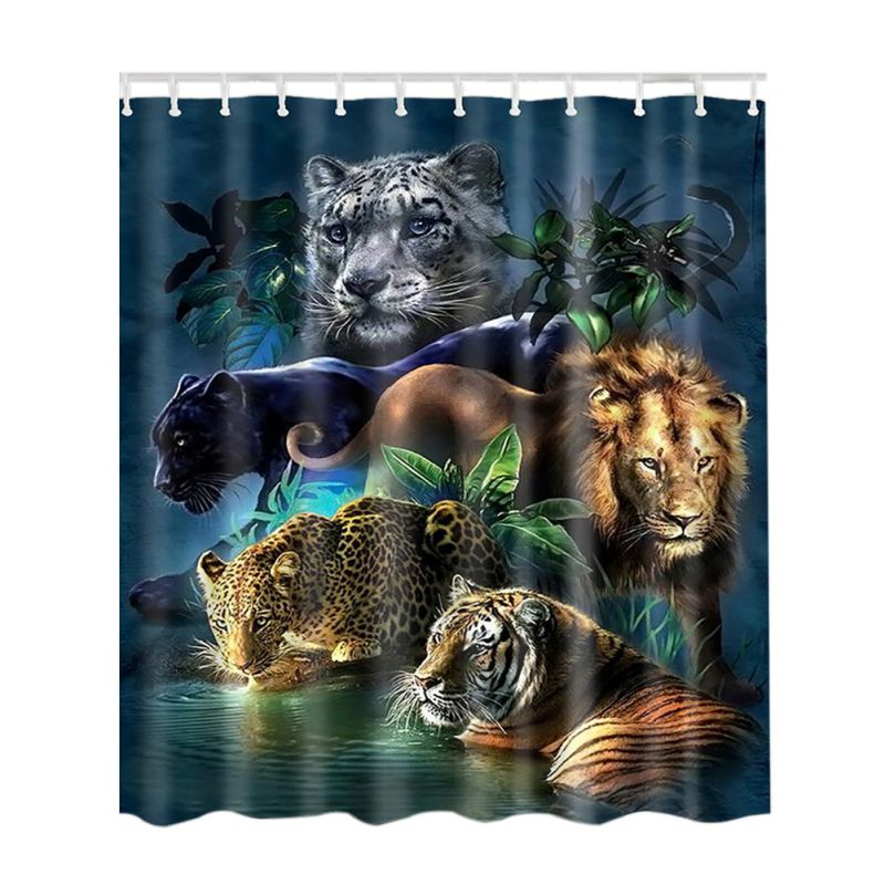 UK Waterproof Bath Bathroom Shower Curtain Fabric Animal
