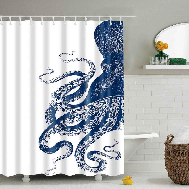 UK Waterproof Bath Bathroom Shower Curtain Fabric Animal Printing ...