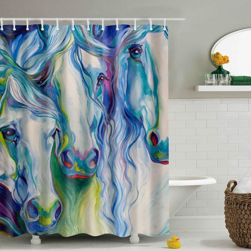 Hot Waterproof Fabric Bathroom Shower Curtain Animal Printing Tree