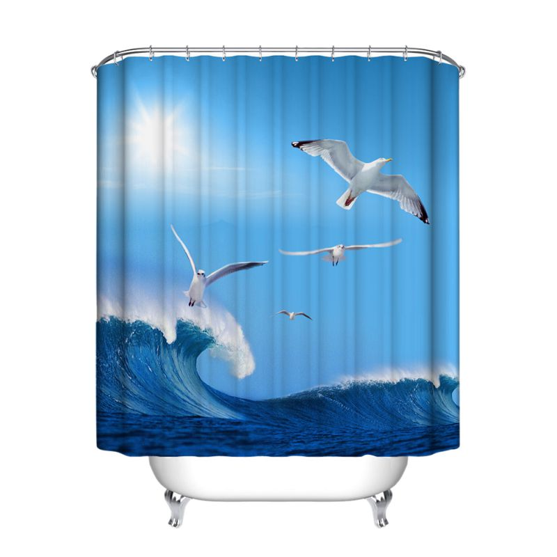 US Waterproof Fabric Various Bathroom Shower Curtain Sheer Panel Decor 12 Hooks