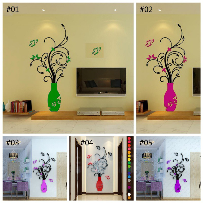 uk diy 3d vase flower tree crystal arcylic wall stickers decal home