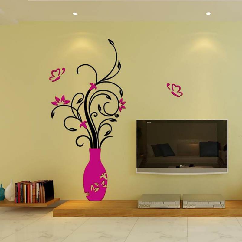 Details about US 3D Art Vase Flower Wall Mirror Stickers Decal Mural Graft Home Decor DIY