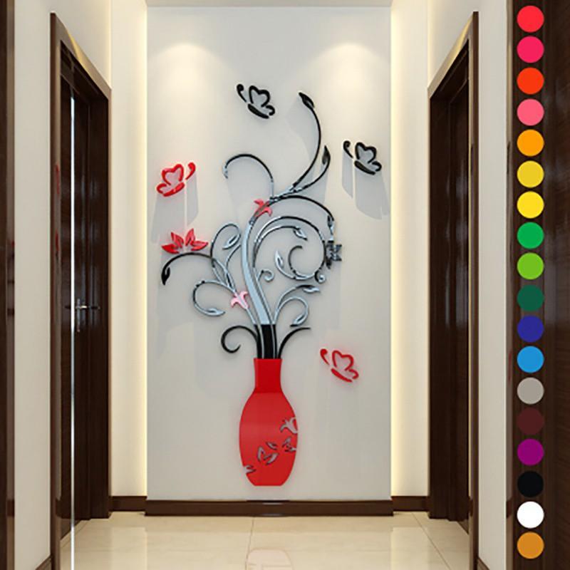3D Flower Vase DIY Removable Mirror Wall Art Sticker Home Room Decor ...