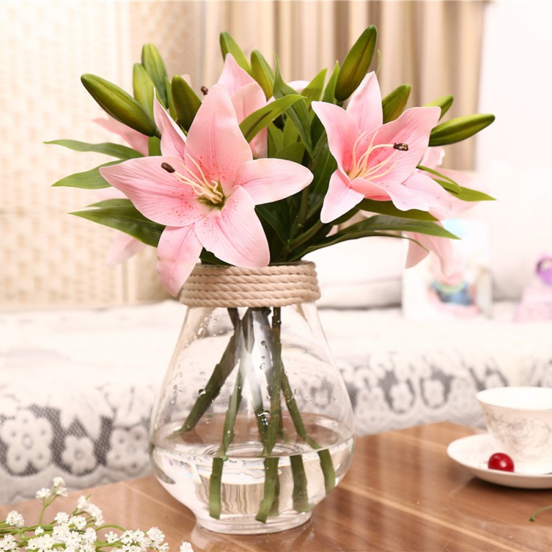 Usa Artificial Lily Flowers Latex Real Touch Bridal Wedding Bouquet