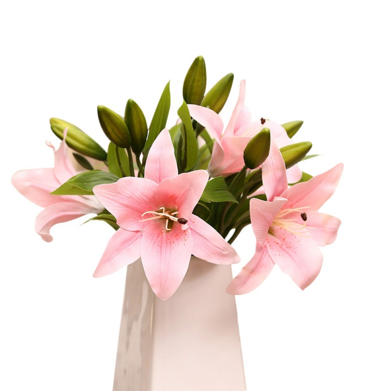 AU-Artificial-Real-Touch-Latex-Lily-Flower-Leaf-Plant-Bouquet-Wedding-Home-Decor