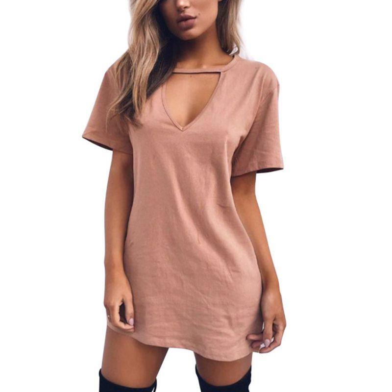 AU-Lady-Cut-Out-Choker-Neck-Short-Sleeve-Tops-Casual-Party-Club-Short-Mini-Dress