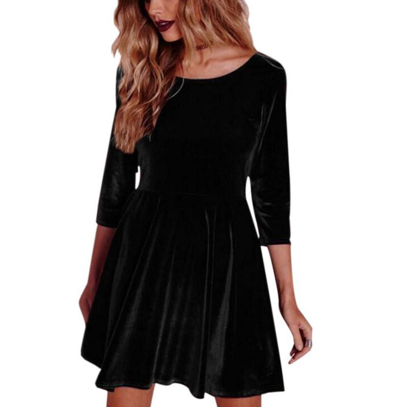 Warmer-Dress-Women-Velvet-Evening-Party-Porm-Long-Sleeve-Casual-Midi-Soft-Dress