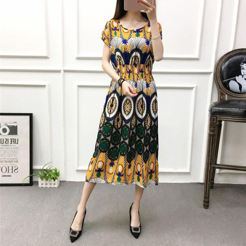 Lady-Women-Summer-Floral-Print-Maxi-Dresses-Batwing-Short-Sleeves-Beach-Dresses