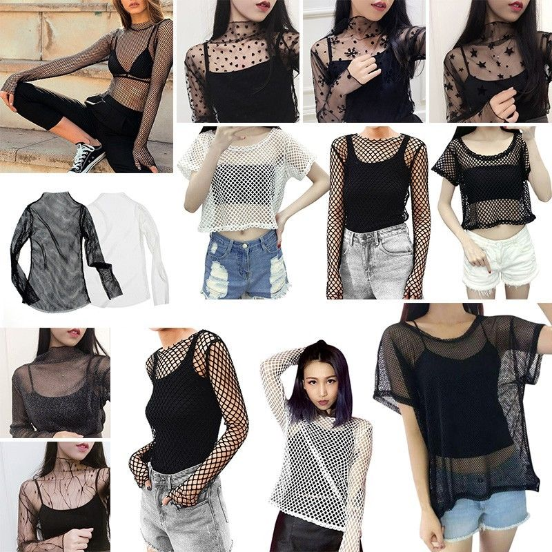 1307b56880dbd8 Fashion Women Summer See-through Top Sheer Mesh Blouse Black Long ...