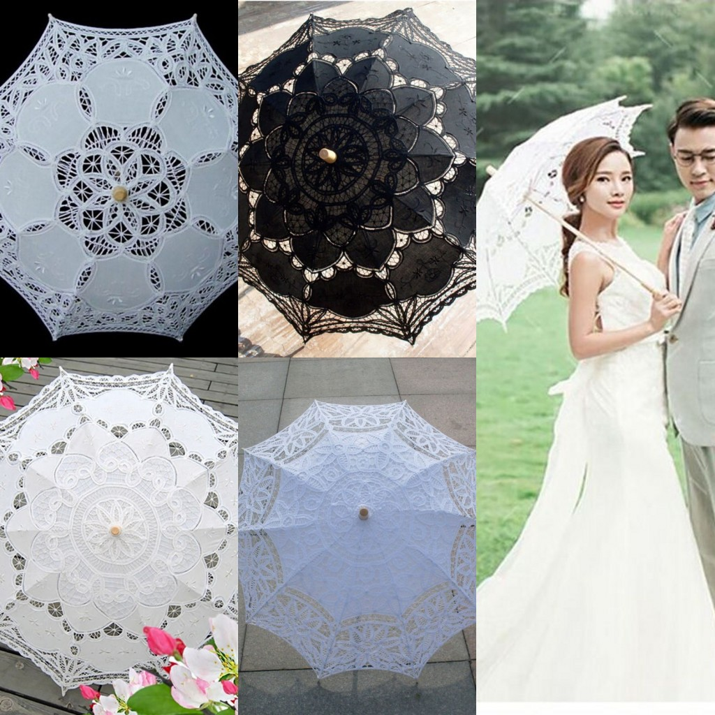 Women's Vintage Handmade Cotton Lace Parasol Umbrella Party Wedding Bridal Props 2