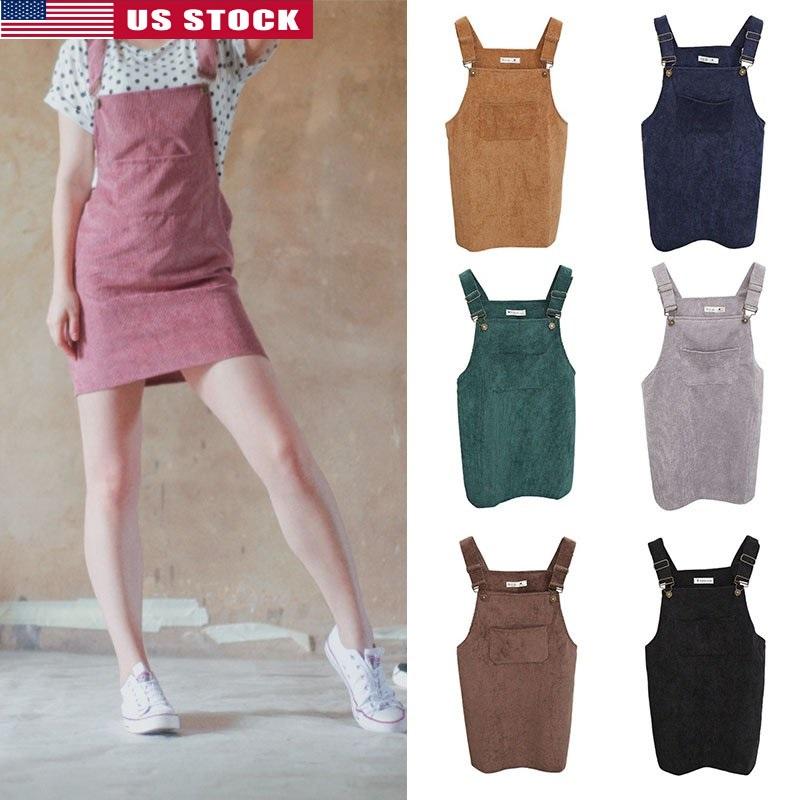 6d9db48bd7 Details about US Women Corduroy Strap Suspender Skirt Cute Overall Vest  Jumpsuit Tank Dress