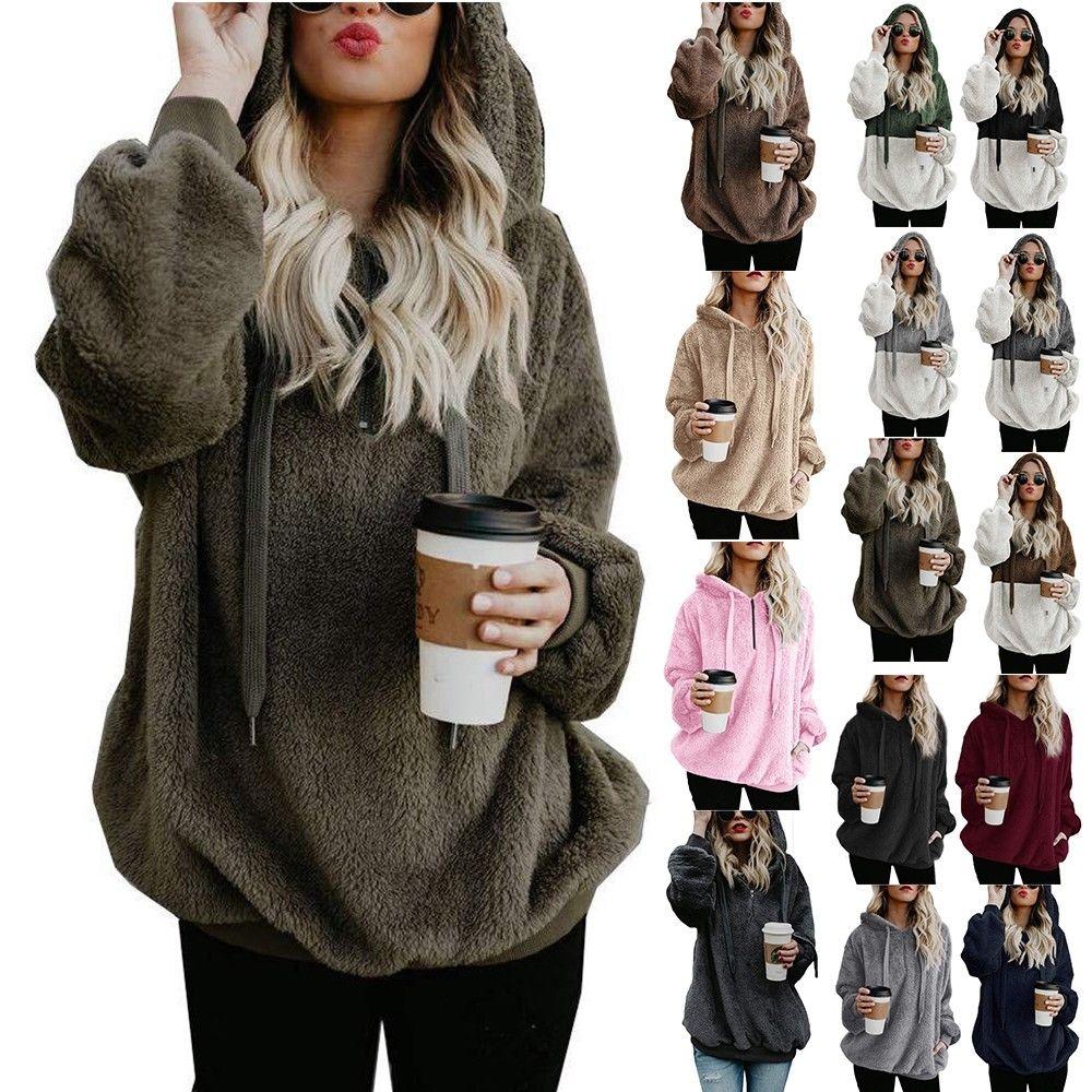 032361040e3 UK Plus Size Women s Jumper Long Sleeve Hoodie Sweatshirt Warm ...