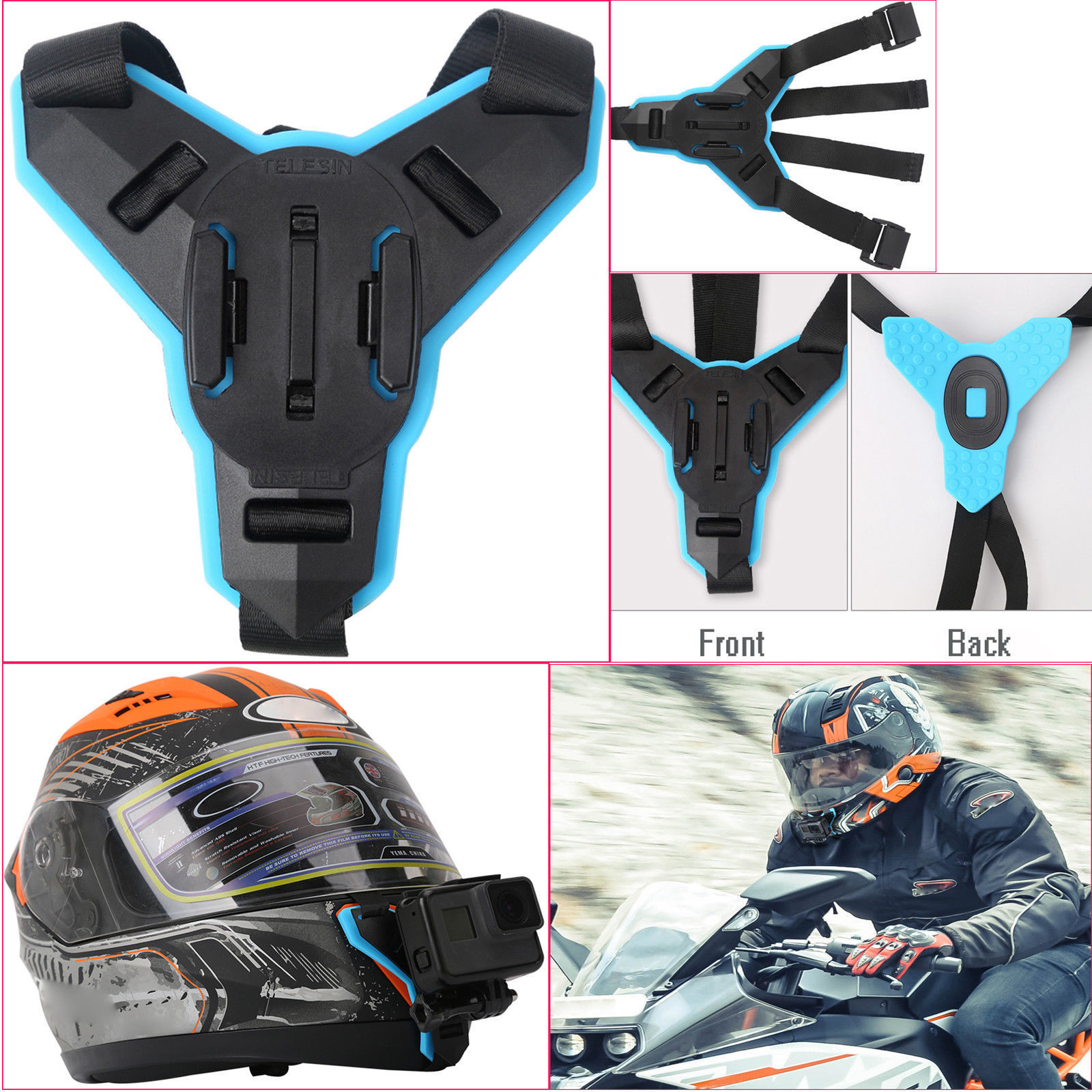 Details About Action Camera Motorcycle Helmet Chin Mount Holder Strap For Gopro Hero 6 5 4 Yi