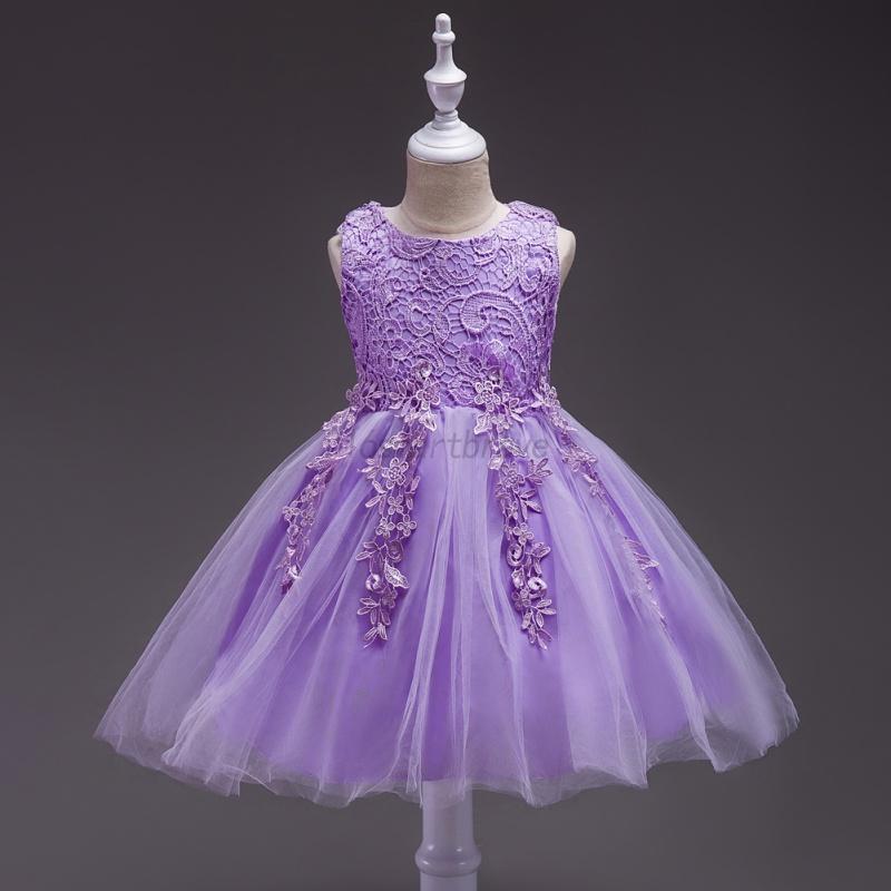 UK Kids Girls Flower Wedding Bridesmaid Dress Princess Party Prom ...