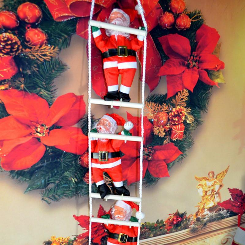 Santa Claus Decorations Uk: UK Christmas Santa Claus Climbing On Rope Ladder Figure