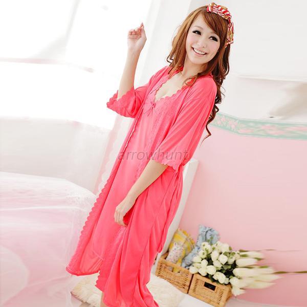 US Women 2pcs Silk Comfy Satin Pajamas Set Bow Sleep Dress Nightgown ...