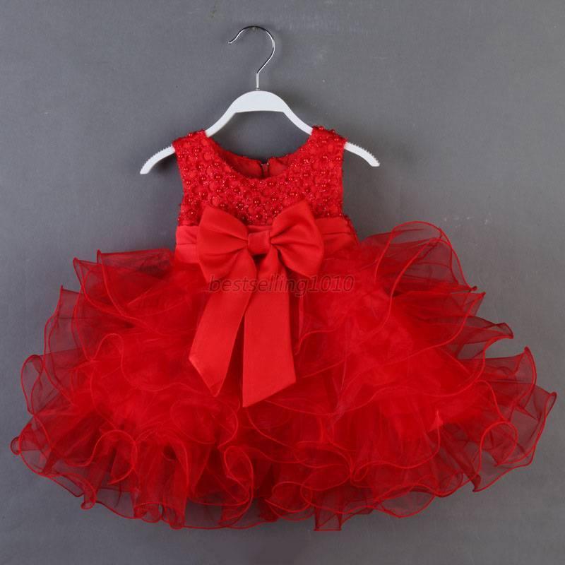 018m newborn baby toddler girl flower princess dress