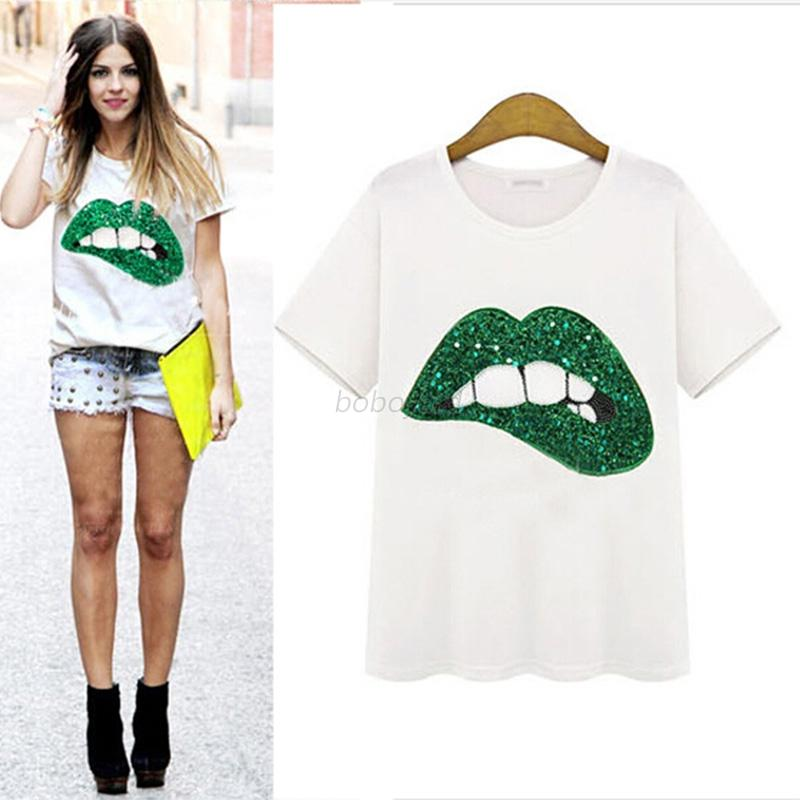 Women-Sexy-Lips-Print-Short-Sleeve-T-shirt-Crew-Neck-Casual-White-Blouse-Tops-US